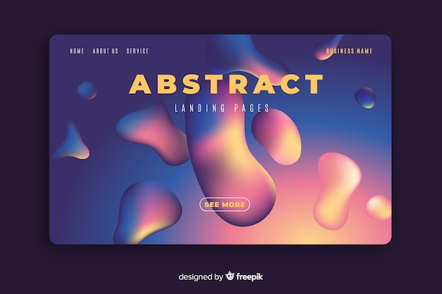Modello di pagina di destinazione effetto liquido astratto Vettore gratuito