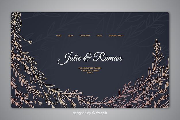 Modello di pagina di destinazione elegante matrimonio disegnato a mano Vettore gratuito