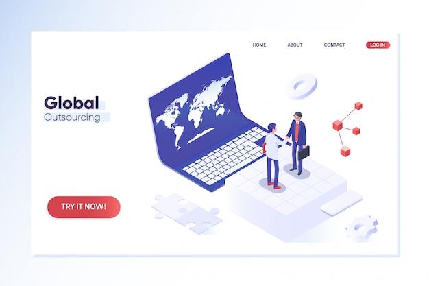 Modello di pagina di destinazione. esternalizzare i professionisti in diverse località in tutto il mondo Vettore Premium
