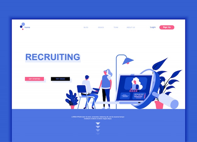 Modello di pagina di destinazione flat di recruiting Vettore Premium