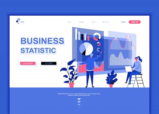 Modello di pagina di destinazione flat di statistica aziendale Vettore Premium
