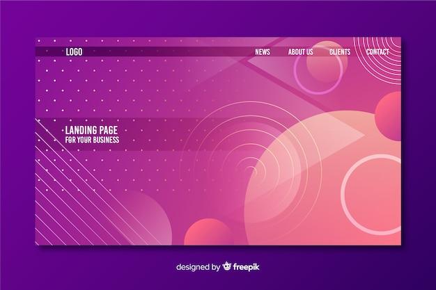 Modello di pagina di destinazione forme geometriche Vettore gratuito