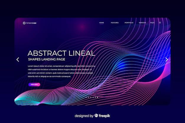 Modello di pagina di destinazione forme lineari Vettore gratuito