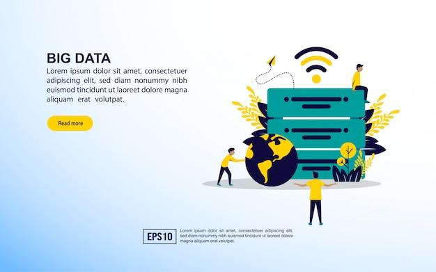 Modello di pagina di destinazione. grandi dati Vettore Premium