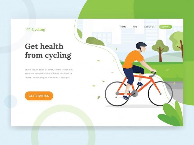 Modello di pagina di destinazione in bicicletta Vettore Premium