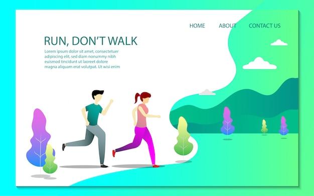 Modello di pagina di destinazione in buona salute Vettore Premium