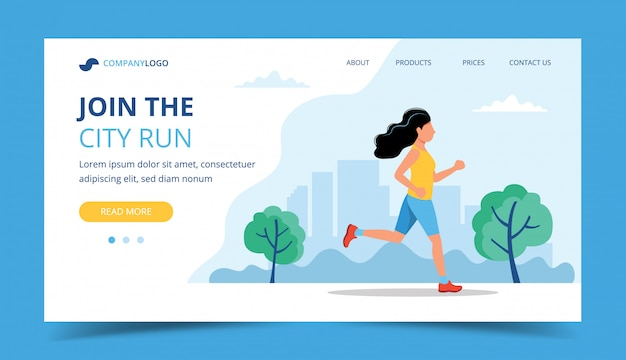 Modello di pagina di destinazione in esecuzione. donna che corre nel parco. Vettore Premium