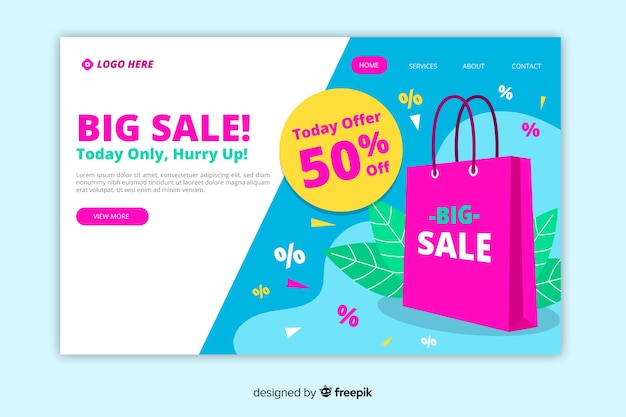 Modello di pagina di destinazione in vendita piatta Vettore gratuito