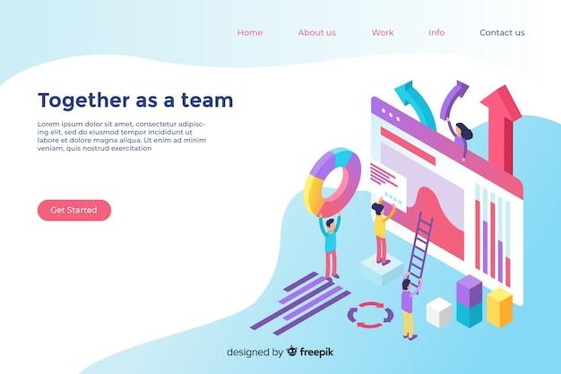 Modello di pagina di destinazione isometrica di lavoro di squadra Vettore gratuito