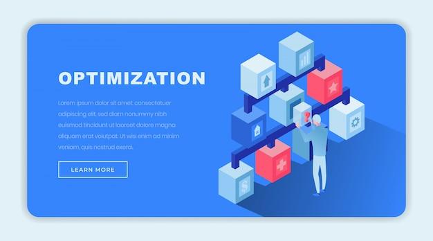 Modello di pagina di destinazione isometrica di ottimizzazione Vettore Premium