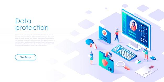 Modello di pagina di destinazione isometrica protezione dei dati Vettore Premium