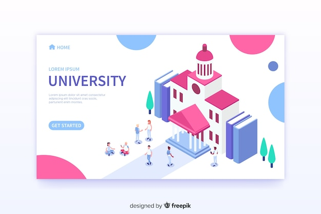 Modello di pagina di destinazione isometrica universitaria Vettore gratuito
