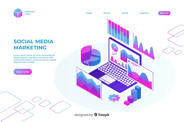 Modello di pagina di destinazione marketing isometrica Vettore gratuito