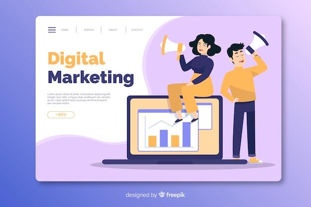 Modello di pagina di destinazione marketing piatto Vettore gratuito