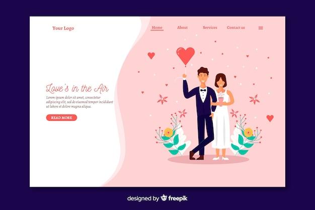 Modello di pagina di destinazione matrimonio piatto Vettore gratuito