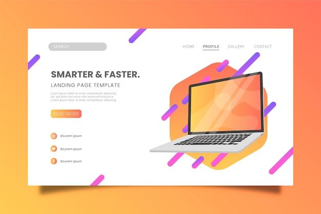 Modello di pagina di destinazione migliore design per laptop Vettore gratuito