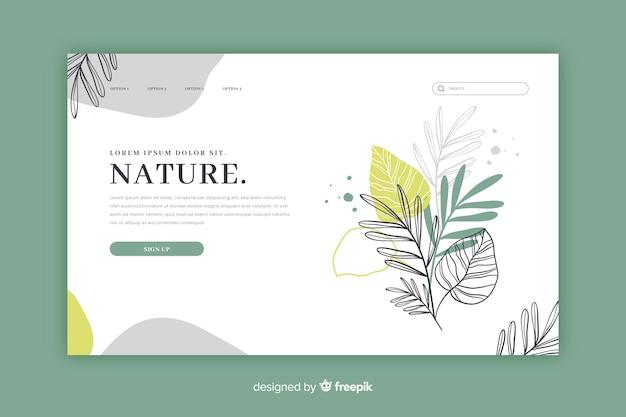 Modello di pagina di destinazione natura disegnata a mano Vettore gratuito