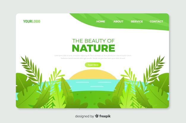 Modello di pagina di destinazione natura piatta Vettore gratuito