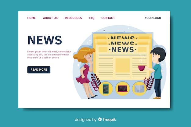 Modello di pagina di destinazione notizie piatte Vettore gratuito
