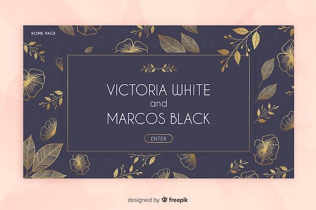 Modello di pagina di destinazione nozze d'oro elegante Vettore gratuito