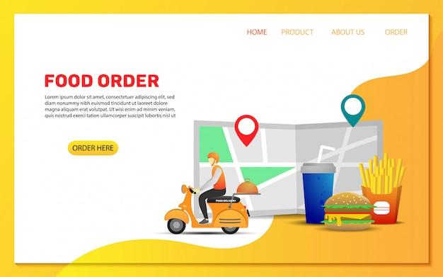 Modello di pagina di destinazione ordine di consegna cibo Vettore Premium