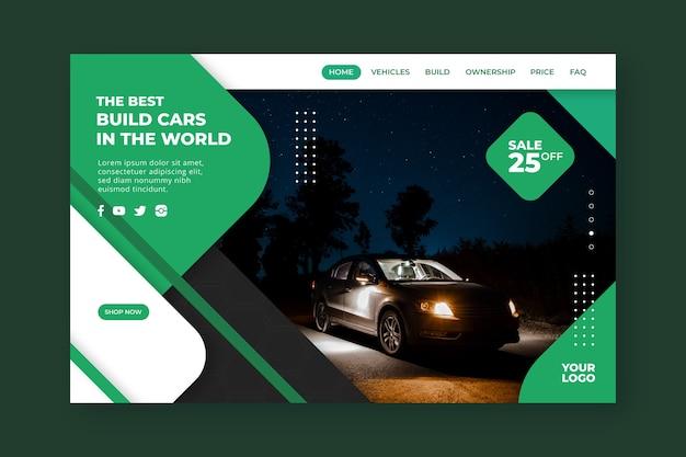 Modello di pagina di destinazione per acquisti in auto con auto scura Vettore gratuito
