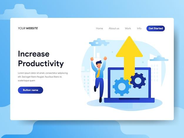 Modello di pagina di destinazione per aumentare la produttività Vettore Premium
