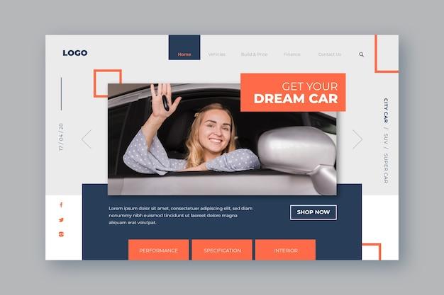 Modello di pagina di destinazione per auto shopping con donna Vettore gratuito