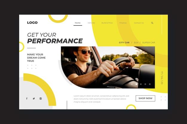 Modello di pagina di destinazione per auto shopping con l'uomo Vettore gratuito