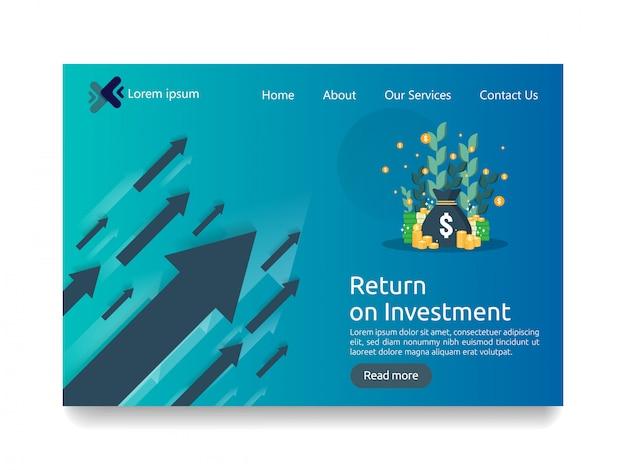 Modello di pagina di destinazione per il concetto di business degli investimenti Vettore Premium