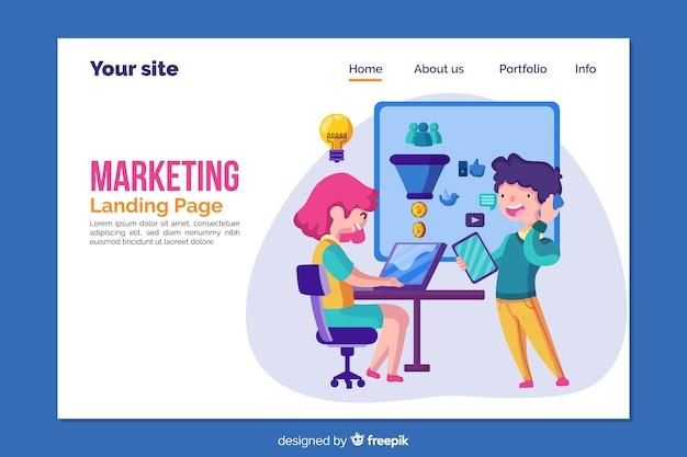 Modello di pagina di destinazione per il marketing Vettore gratuito
