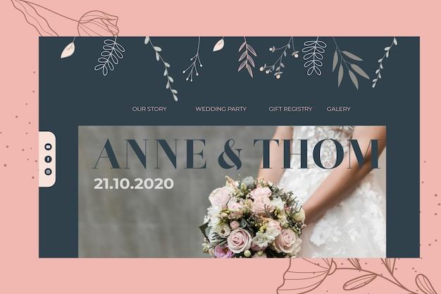 Modello di pagina di destinazione per il matrimonio Vettore gratuito