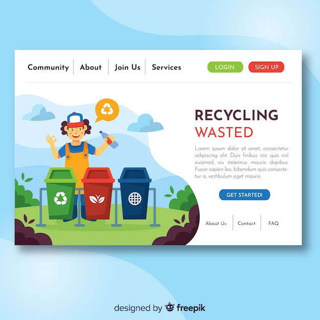 Modello di pagina di destinazione per il riciclaggio piatto Vettore gratuito