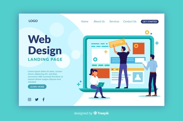 Modello di pagina di destinazione per il web design Vettore gratuito