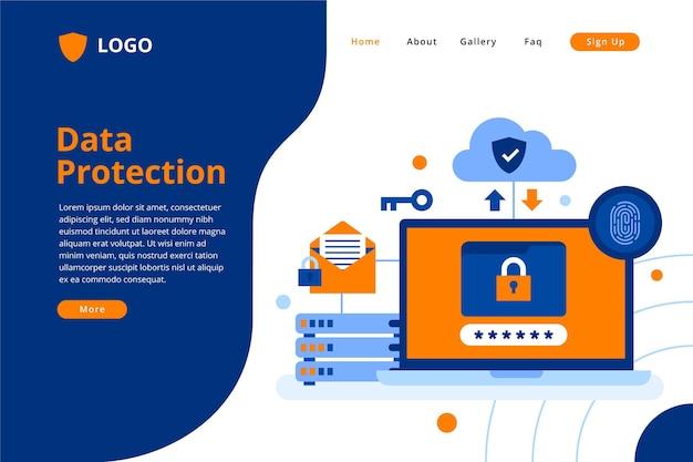 Modello di pagina di destinazione per la protezione dei dati Vettore gratuito