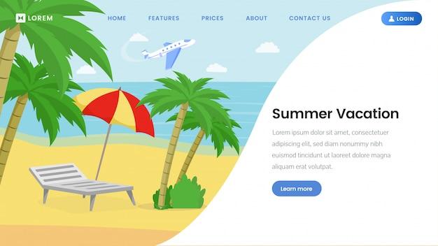 Modello di pagina di destinazione per le vacanze estive Vettore Premium