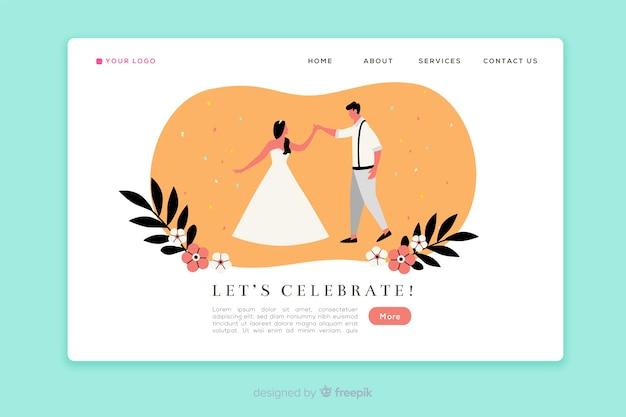 Modello di pagina di destinazione per matrimonio piatto Vettore gratuito