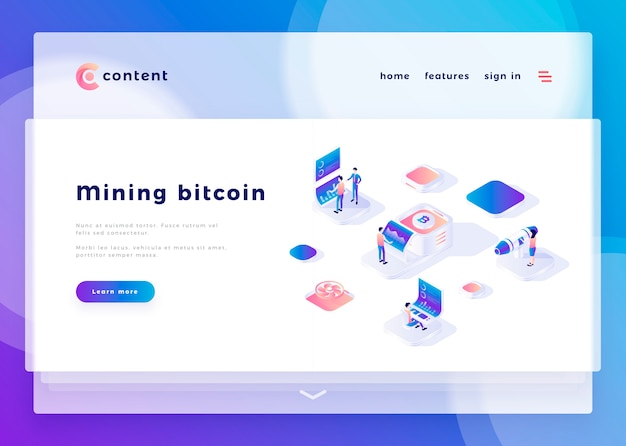 Modello di pagina di destinazione per mining ufficio persone bitcoin e interagire con i computer illustrazione vettoriale Vettore Premium