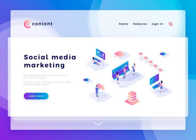 Modello di pagina di destinazione per social media marketing ufficio persone e interagire con i computer illustrazione vettoriale Vettore Premium