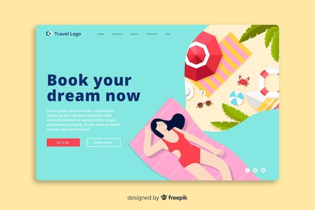 Modello di pagina di destinazione per viaggi piatti Vettore gratuito