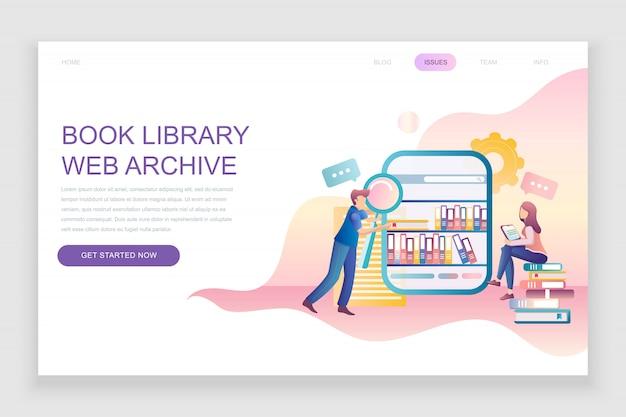 Modello di pagina di destinazione piatta della libreria del libro Vettore Premium