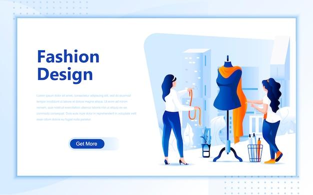 Modello di pagina di destinazione piatto design di moda di homepage Vettore Premium