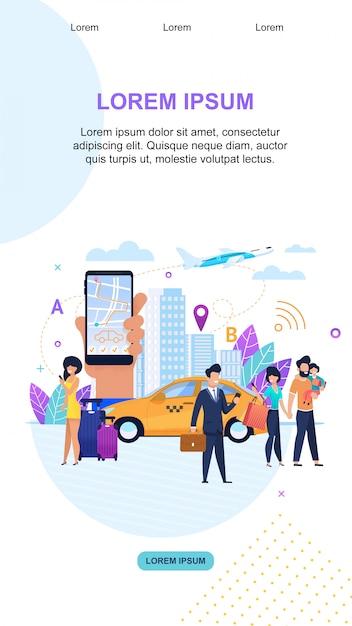 Modello di pagina di destinazione. servizi di trasferimento. trasporto turistico urbano. Vettore Premium