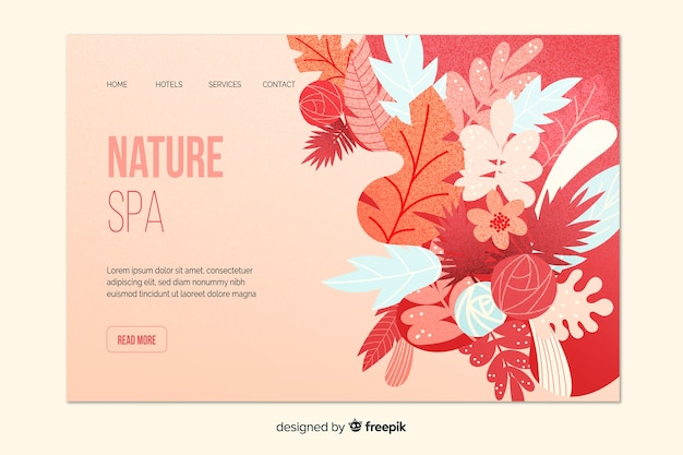 Modello di pagina di destinazione spa natura Vettore gratuito