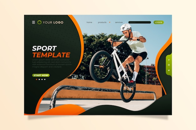 Modello di pagina di destinazione sportiva con foto Vettore gratuito