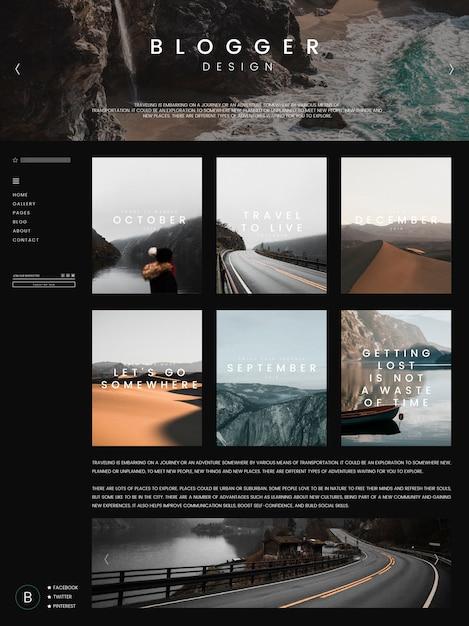 Modello di pagina principale del blog Vettore gratuito