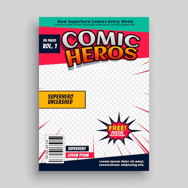 Modello di pagina rivista di fumetti Vettore gratuito