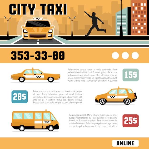 Modello di pagina web di servizi di taxi di città Vettore gratuito