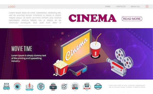 Modello di pagina web di tempo di film isometrico con schermo tv tv popcorn occhiali 3d fotocamera ed etichette colorate cinema Vettore gratuito
