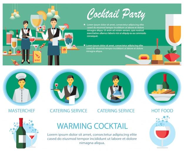Modello di pagina web per servizio catering di cocktail party Vettore Premium